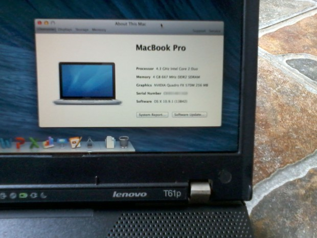 Hackintosh Laptop Lenovo Thinkpad T61p OSX Mavericks 10.9.1 NVIDIA Quadro 570M