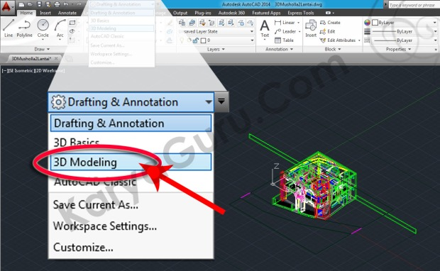 01-workspace-switching-3d-modeling-autocad-tutorial