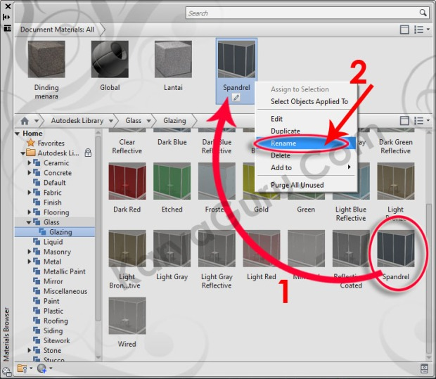12-lass-glazing-spandrel-rename-material-browser-tutorial-autocad-3d