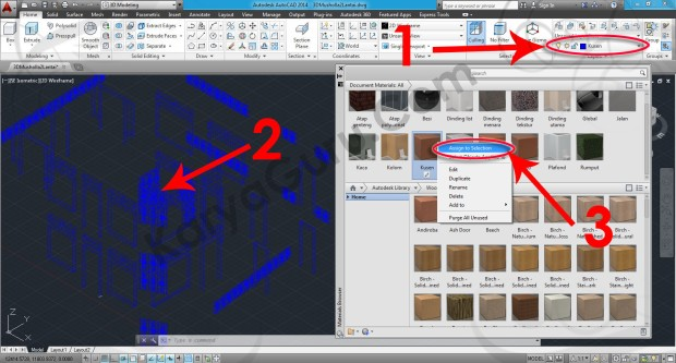70-assign-to-selection-wood-walnut-stained-light-no-gloss-material-browser-tutorial-autocad-3d