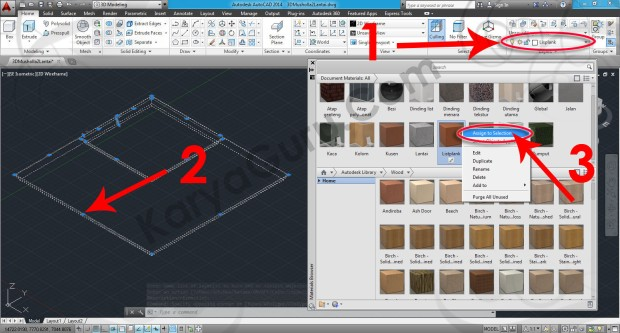 72-assign-to-selection-wood-teak-stained-dark-no-gloss-material-browser-tutorial-autocad-3d