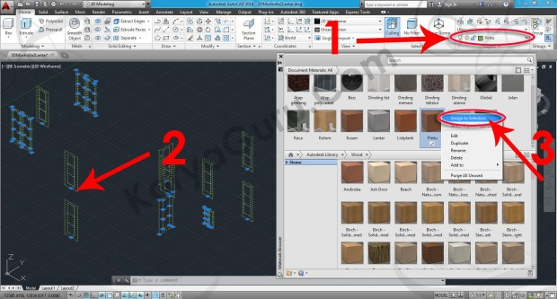 73-assign-to-selection-wood-walnut-natural-polished-material-browser-tutorial-autocad-3d