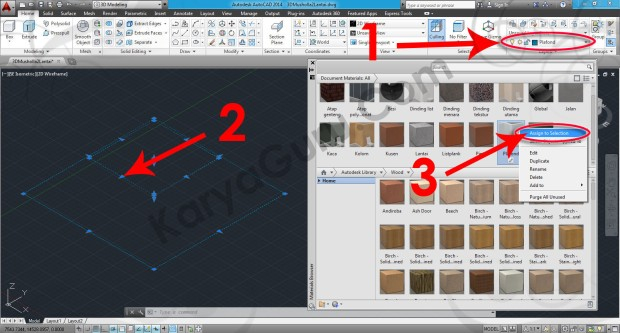 74-assign-to-selection-paint-wood-painted-white-material-browser-tutorial-autocad-3d