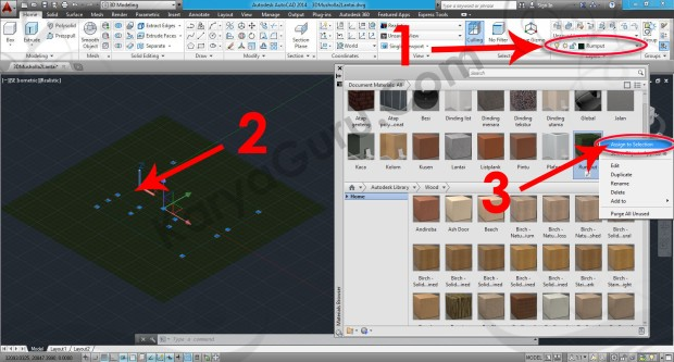 75-assign-to-selection-sitework-hedge-material-browser-tutorial-autocad-3d