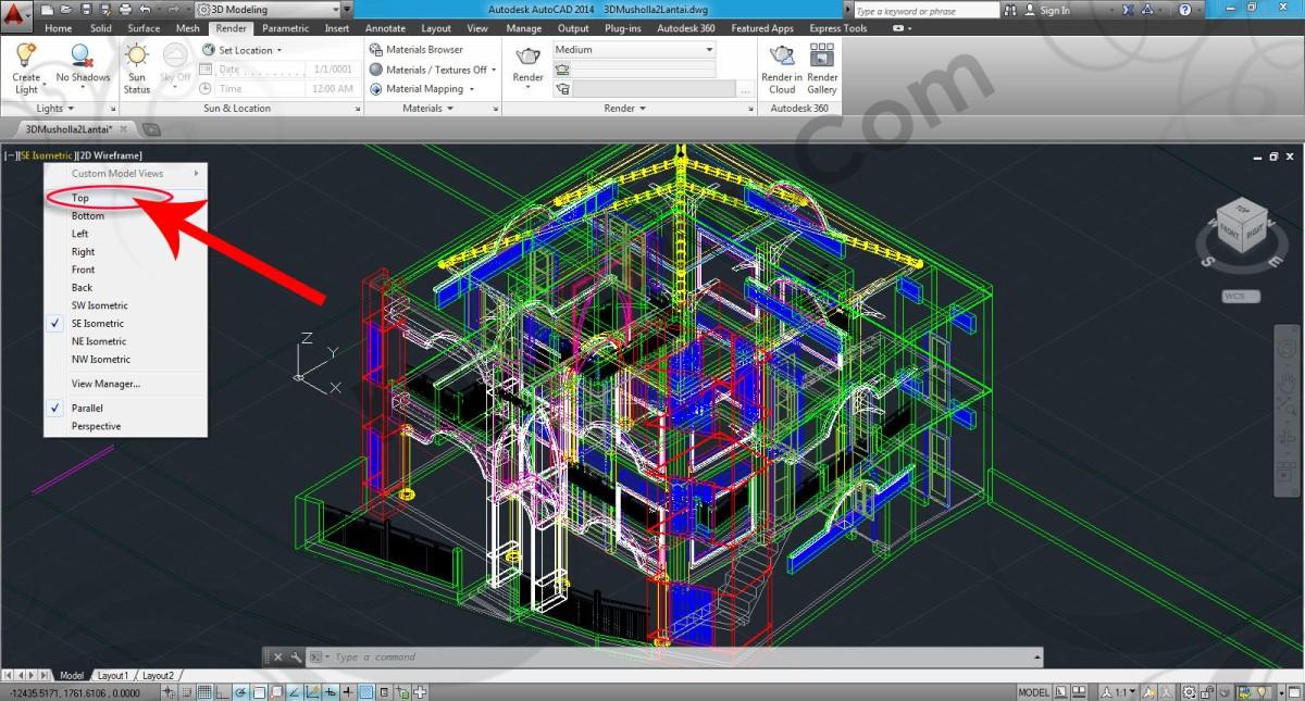 Download File AutoCAD 3D Bangunan Bertingkat Latihan Rendering