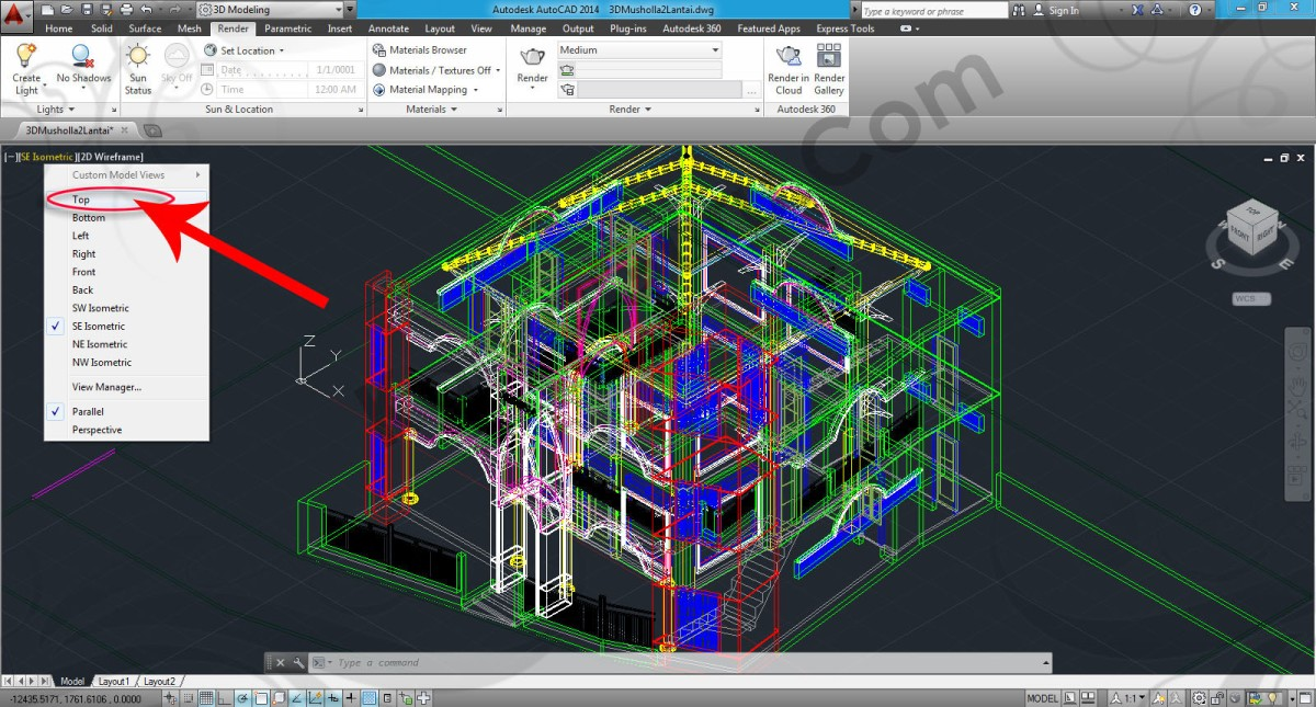 Download File AutoCAD 3D Bangunan Bertingkat Latihan Rendering