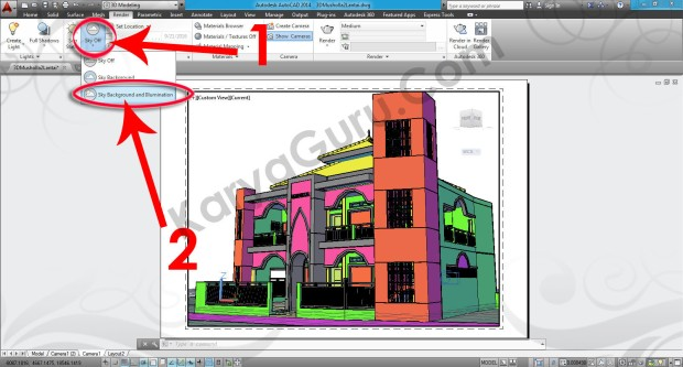 95-sky-background-and-illumination-layout-viewport-tutorial-autocad-3d