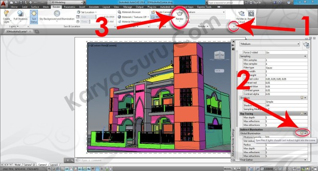 97-render-global-illmumination-layout-viewport-tutorial-autocad-3d