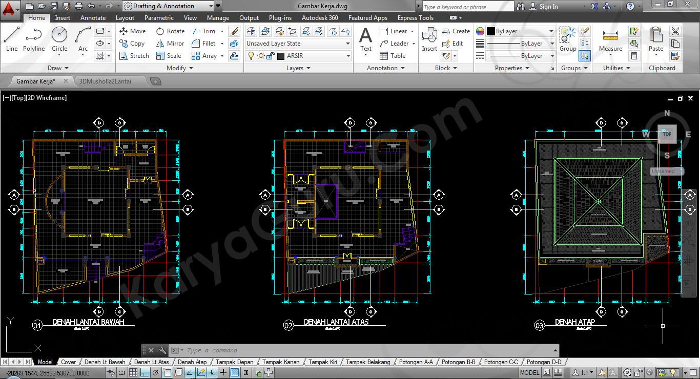 660 Koleksi Gambar Kerja Rumah 2 Lantai Autocad HD