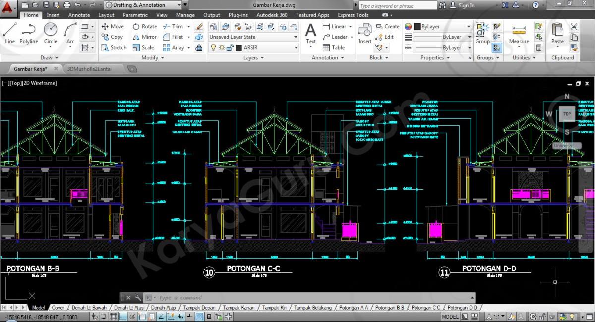 Gambar Kerja dan 3D Presentasi Desain Musholla 2 Lantai