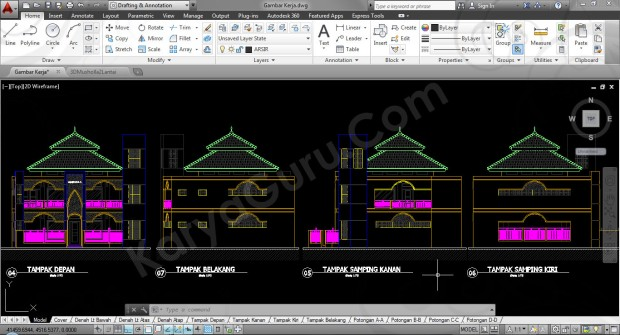 gambar-kerja-tampak-musholla-2-lantai-autocad