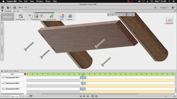 Animation Autodesk Fusion360 - Folding Table Outer Frame KaryaGuruCenter