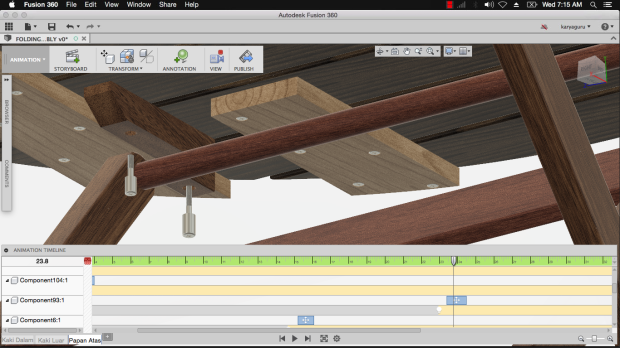 Animation Autodesk Fusion360 - Folding Table Top Frame KaryaGuruCenter