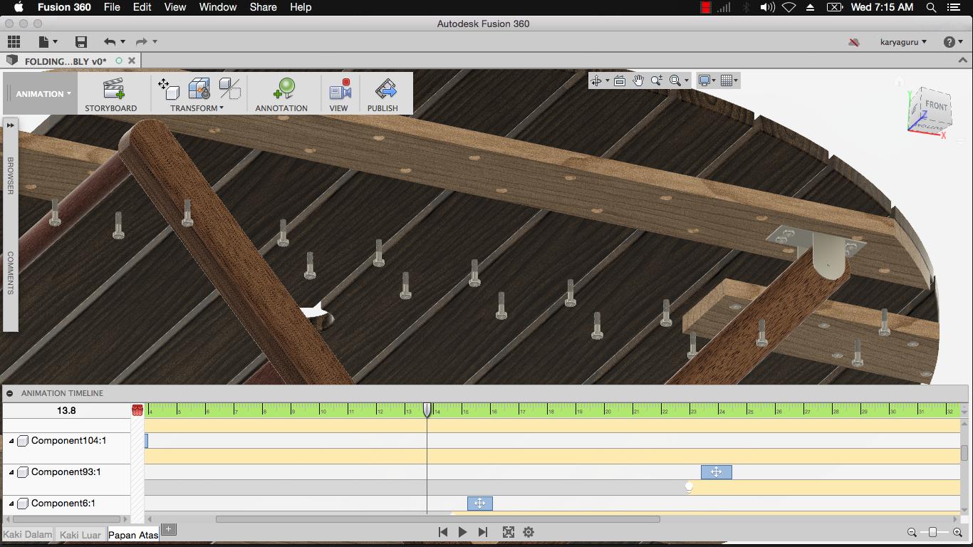 Animasi Folding Table Assembly dengan Autodesk Fusion 360 dari 3D