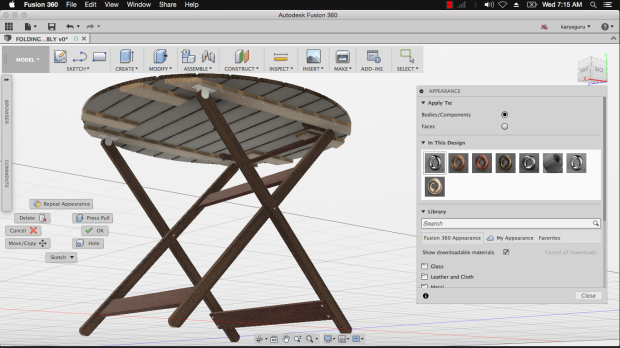Appearance Material Autodesk Fusion360 - Folding Table Assembly KaryaGuruCenter