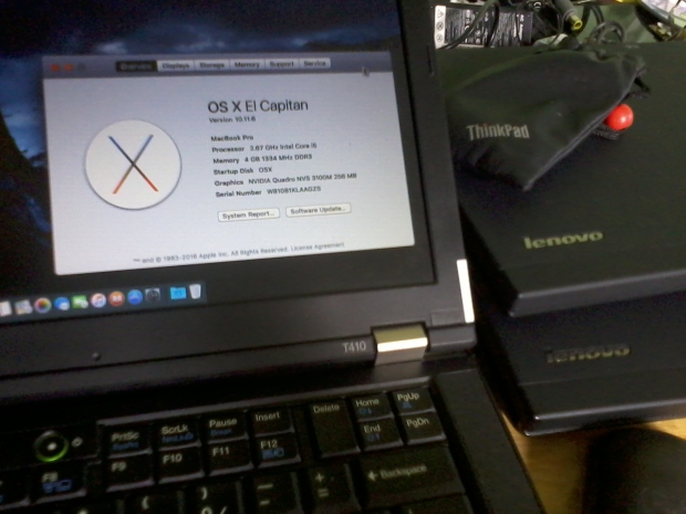 Hackintosh Elcapitan Lenovo Thinkpad T410 Full QE-CI Nvidia Web Driver NVS 3100M