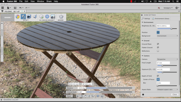 Render Scene Settings Autodesk Fusion360 - Folding Table Assembly KaryaGuruCenter