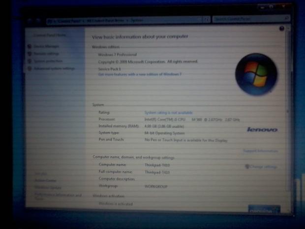 Win7Pro64 Lenovo Thinkpad T410 Core i5 M560 DualVGA NvidiaQuadroNVS3100M IntelHD