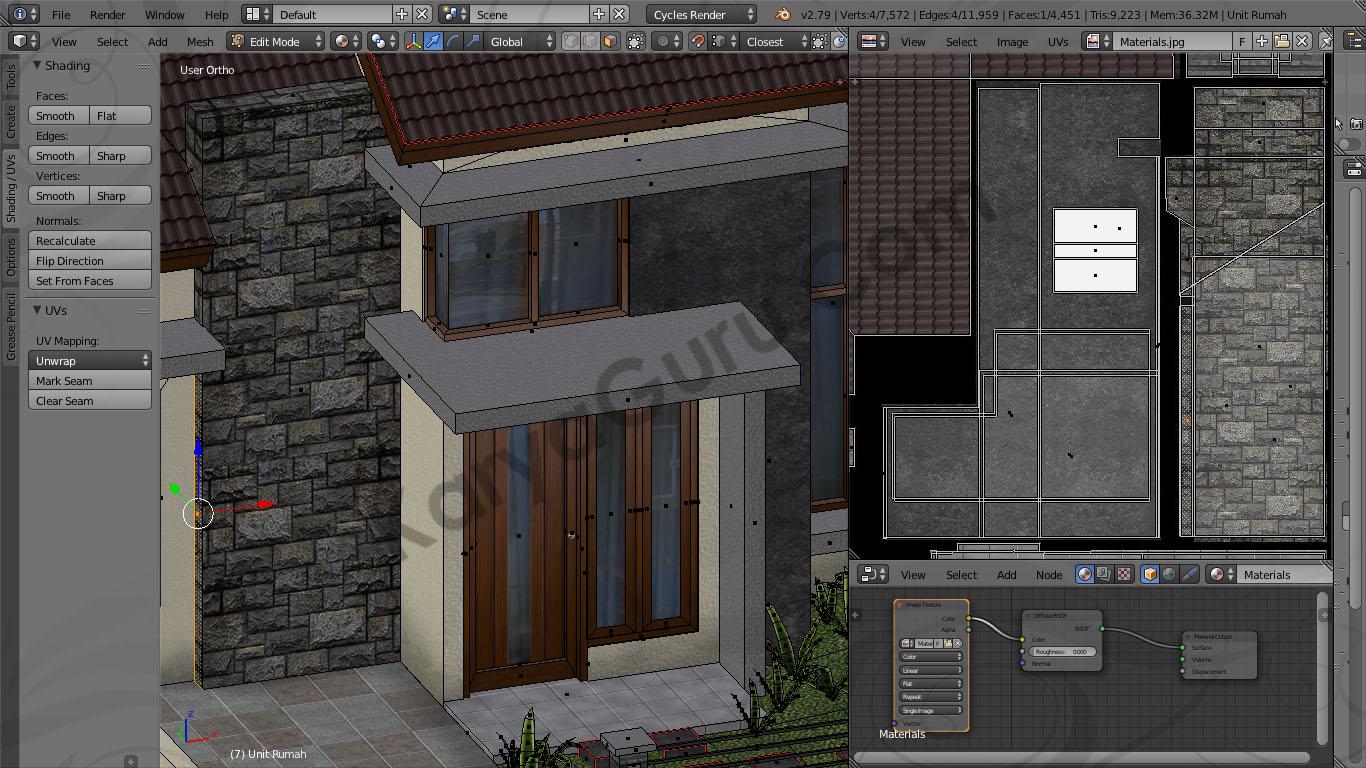 Blender Material Texture Atlas Batu Alam Rumah Minimalis & Rumah Minimalis Model LowPoly dengan Texture Atlas menggunakan ...