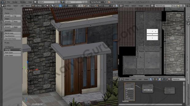 Blender Material Texture Atlas Batu Alam Rumah Minimalis