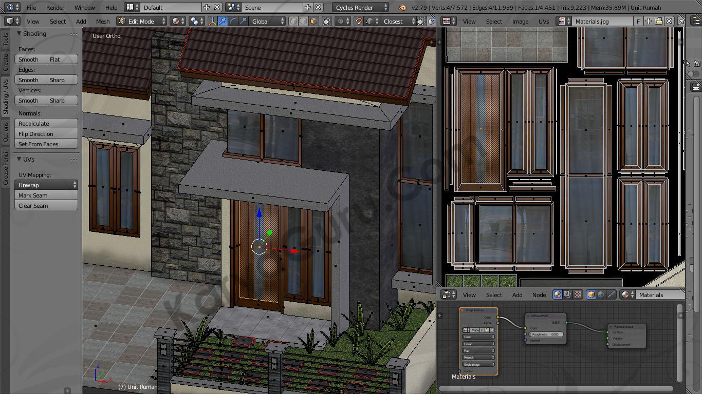 Blender Material Texture Atlas Kusen Pintu Jendela Kayu Rumah Minimalis & Rumah Minimalis Model LowPoly dengan Texture Atlas menggunakan ...