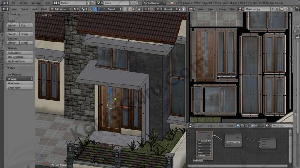 Blender Material Texture Atlas Kusen Pintu Jendela Kayu Rumah Minimalis