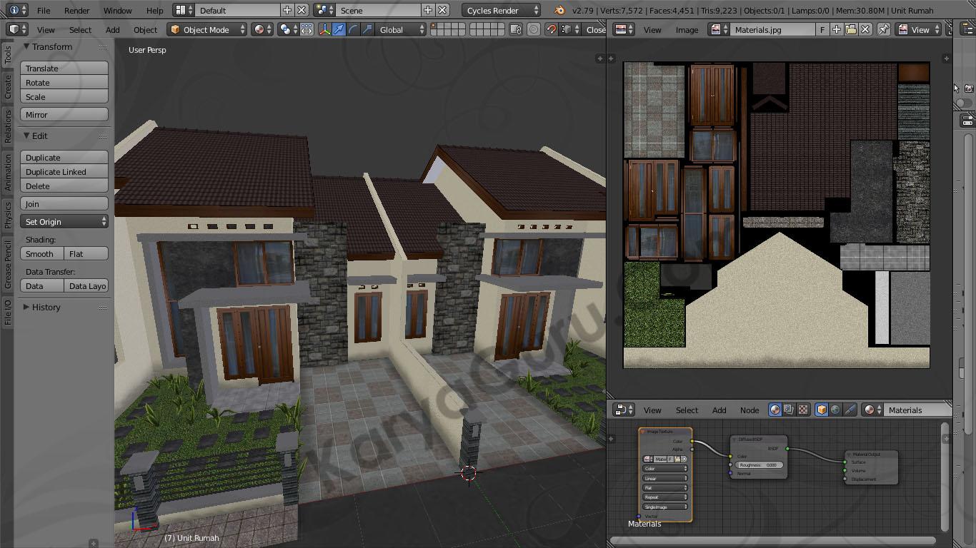 Blender Material Texture Atlas Rumah Minimalis & Rumah Minimalis Model LowPoly dengan Texture Atlas menggunakan ...