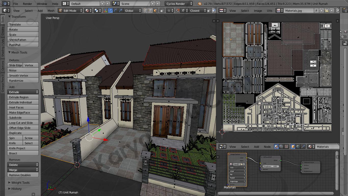Blender UV Unwrap Material Texture Atlas Batu Alam Rumah Minimalis & Rumah Minimalis Model LowPoly dengan Texture Atlas menggunakan ...