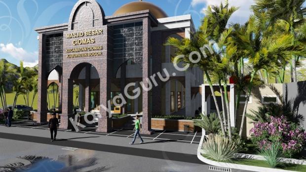 rendering 3d masjid ciomas bogor tampak depan kanan