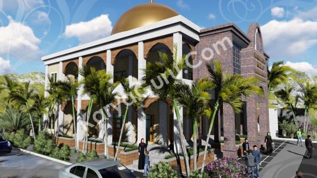 rendering 3d masjid ciomas bogor tampak depan kiri