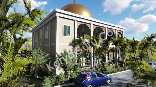 rendering 3d masjid ciomas bogor tampak samping belakang