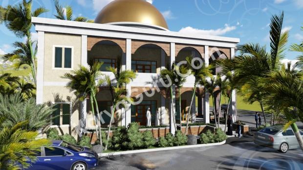 rendering 3d masjid ciomas bogor tampak samping