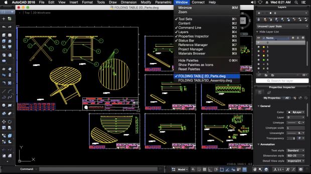 2D Modeling FoldingTable Autodesk AutoCAD for Mac