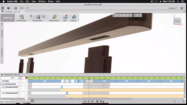 3D Animation Folding Table Autodesk Fusion360 for Mac