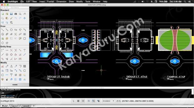 2D Gambar PraDesain Gedung Kantor DPRD AutoCAD Draftsight