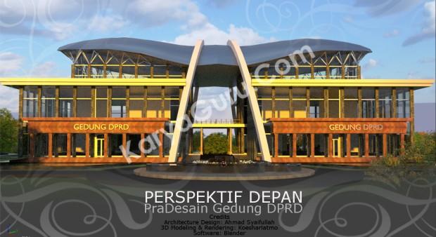 Rendering Pradesain Gedung Kantor DPRD Wilayah Timur Perspektif Depan