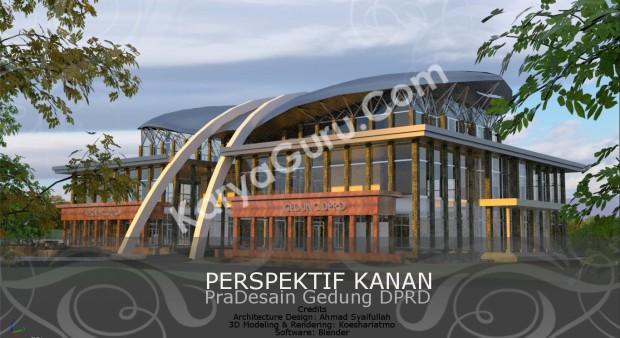 Rendering Pradesain Gedung Kantor DPRD Wilayah Timur Perspektif Kanan