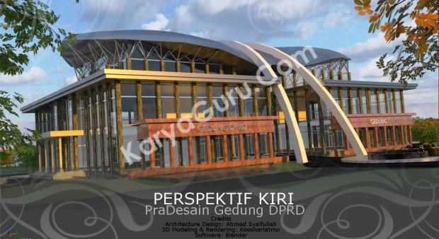 Rendering Pradesain Gedung Kantor DPRD Wilayah Timur Perspektif Kiri