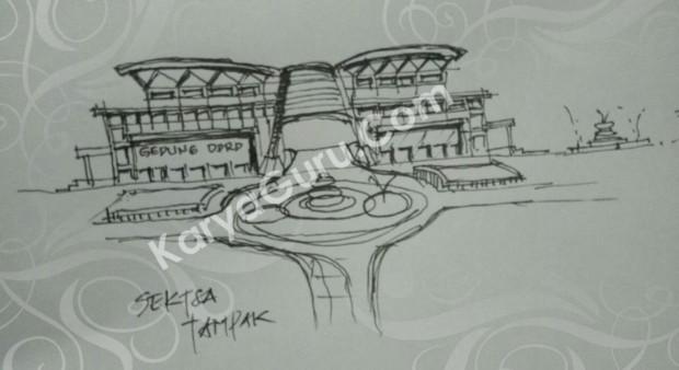 Sketsa Arsitektur PraDesain Tampak Gedung Kantor DPRD