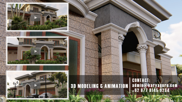 3D Modeling Rendering Animation for Architecture Visualization Services Mediterranean Home Design