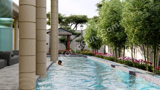 3D Rendering Modeling Animation Architecture Taman Kolam Renang