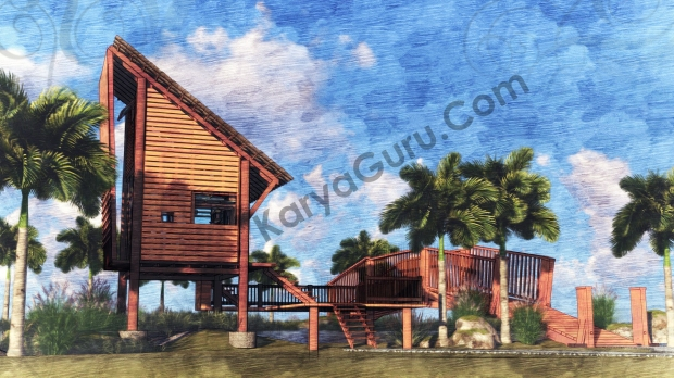 Render Sketch Back View - VOYAGEUR Personal Studio for Travel Blogger