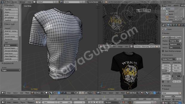 Desain Kaos 3D dengan Blender