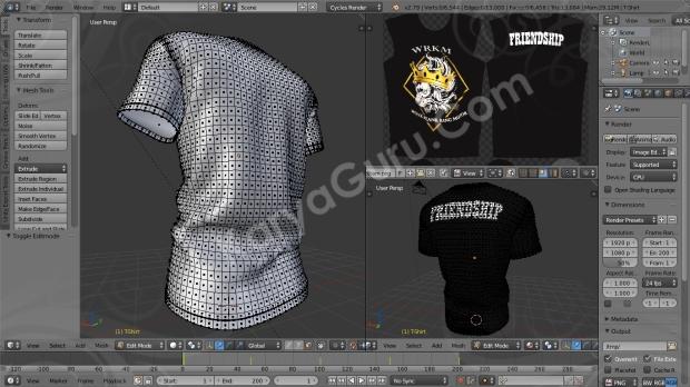 Desain Kaos Club Motor Tshirt 3D Blender