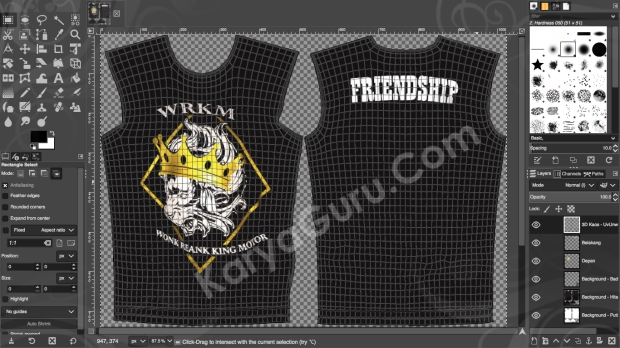 Mockup T-Shirt MotorCycle Club Desain Kaos Sablon Gimp