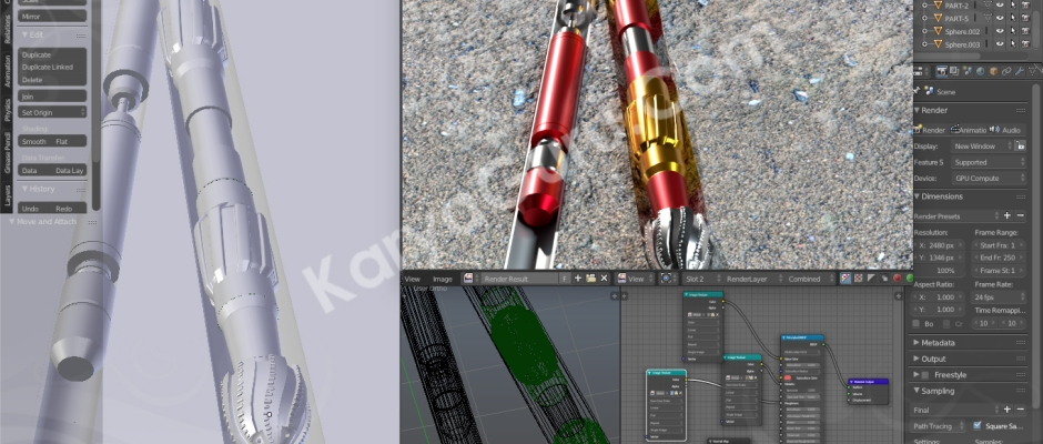 Revision 3D Modeling & Rendering Rotary Drilling Piece with Blender