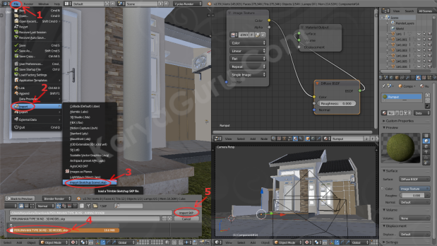 Step by step Import Sketchup File to Blender