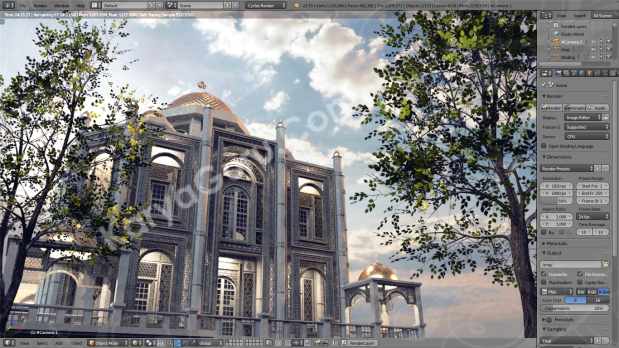 Preview Render Blender Exterior Scene from AutoCAD 3D Model