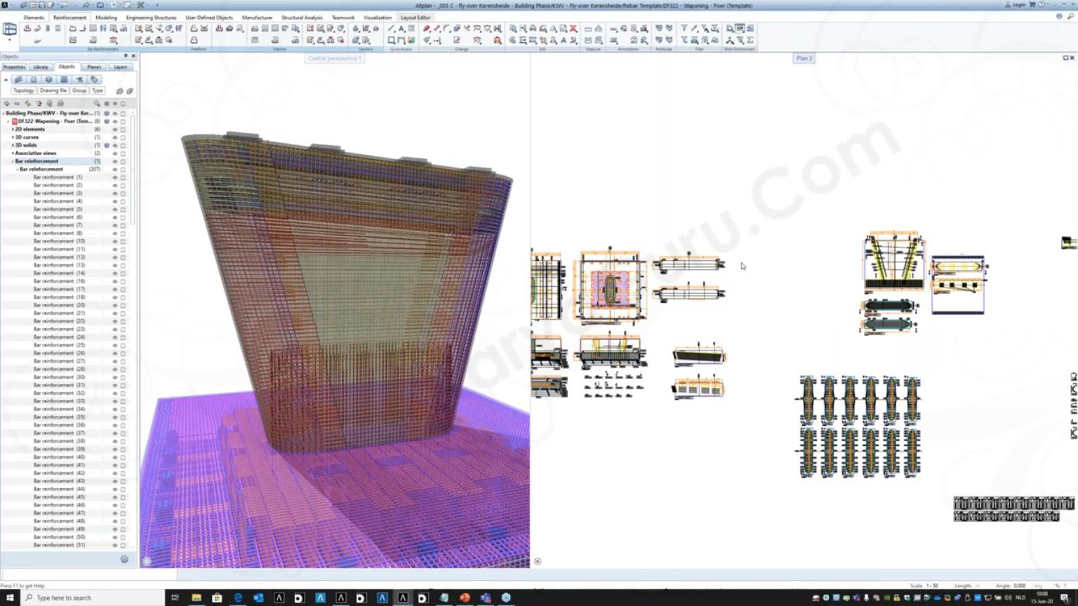 Allplan Engineering untuk detail 3d pembesian dan 2d gambar kerja