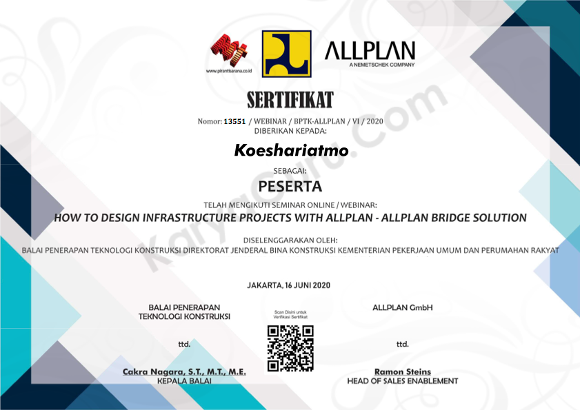 Certificate BIM - Allplan Bridge Solution